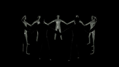 group of businessmen rotating in dark Animation