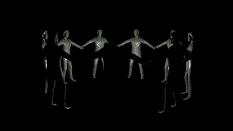 group of businessmen rotating in dark Stock Video Footage