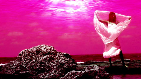 Sexy beautiful luxury Beach pretty girl sunlight blue Ocean sunbeam rocks rock pink Footage