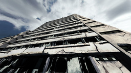 Abandoned Building Clouds Timelapse 01 Stock Video Footage