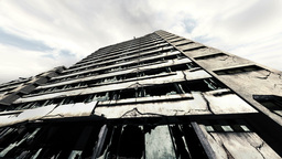 Abandoned Building Clouds Timelapse 03 Stock Video Footage