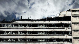 Abandoned Building Clouds Timelapse 05 Stock Video Footage