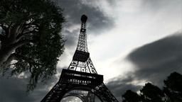 Eiffel Tower Clouds Timelapse 02 Stock Video Footage