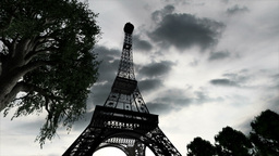 Eiffel Tower Clouds Timelapse 02 Animation