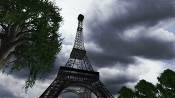 Eiffel Tower Clouds Timelapse 04 Stock Video Footage