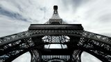 Eiffel Tower Fisheye Clouds Timelapse 01 stock footage