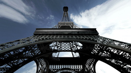 Eiffel Tower Fisheye Clouds Timelapse 01 Animation