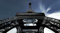 Eiffel Tower Fisheye Clouds Timelapse 01 Stock Video Footage