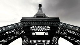 Eiffel Tower Fisheye Clouds Timelapse 03 Stock Video Footage
