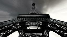 Eiffel Tower Fisheye Clouds Timelapse 03 Stock Video Footage