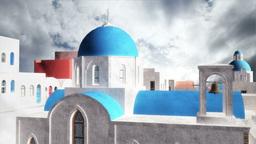 Greek Village Clouds Timelapse 01 Stock Video Footage