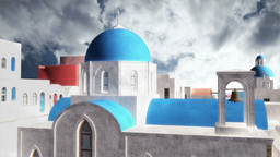 Greek Village Clouds Timelapse 01 Stock Video Footage