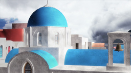 Greek Village Clouds Timelapse 05 pan Stock Video Footage