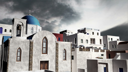 Greek Village Clouds Timelapse 07 Stock Video Footage