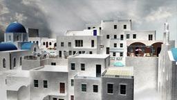 Greek Village Clouds Timelapse 11 Stock Video Footage