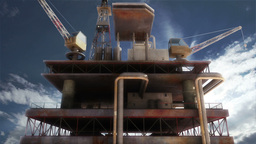 Oil Tower Clouds Timelapse 01 Stock Video Footage