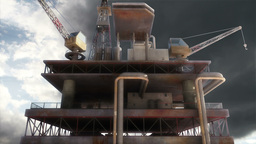 Oil Tower Clouds Timelapse 03 Stock Video Footage