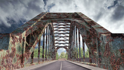 Rusty Bridge Clouds Timelapse 01 Stock Video Footage