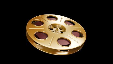 Spining Film Reel Golden Stock Video Footage