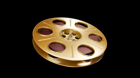 Spining Film Reel Golden Animation