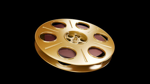 Spining Film Reel Golden Stock Video Footage