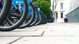 Bike Rental London Street 02 lowangle Stock Video Footage