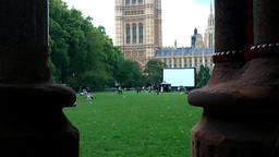British Parliament View from Park Stock Video Footage