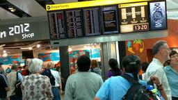 London Heathrow Airport Terminal 5 03 handheld Stock Video Footage