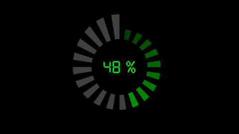 progress bar - digital style, radial design, incre Animation
