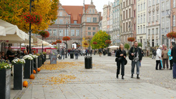 Autumn In Gdansk, Poland. The Long Street stock footage