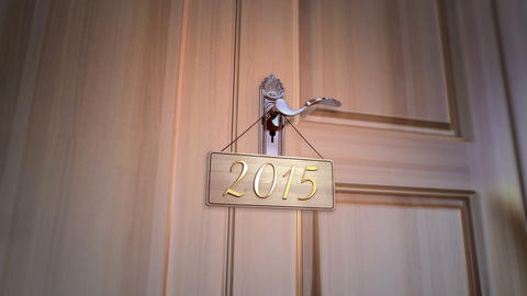 New Year 2015 Door stock footage