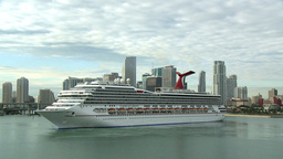 Carnival Liberty Turning For Departure stock footage