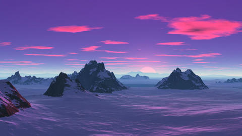 Pink sunset in the snowy wilderness Animation