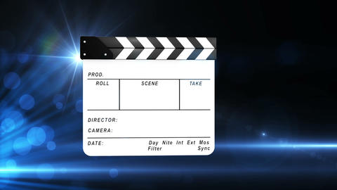 Animation of a film slate on blue Animation