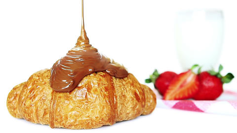 Chocolate On Croissant stock footage
