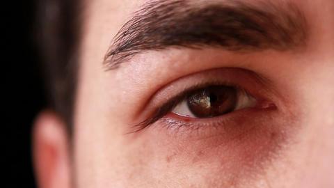 Closeup Man Eye Crying 2 stock footage