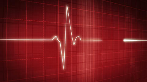 EKG electrocardiogram pulse trace on red 2 Animation