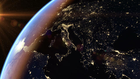 Europe and Africa at night Animation