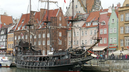 Old Galleon Ship In Gdansk, Poland stock footage