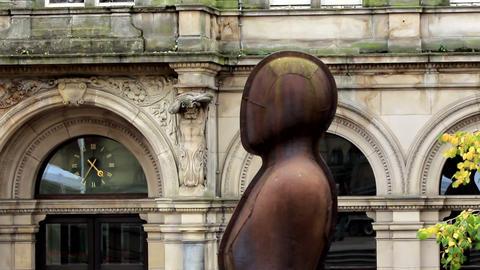 Iron: Man head in Victoria Square, Birmingham Footage
