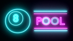Pool billiards neon sign lights logo text glowing Animation