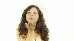 Vintage girl blowing kiss 2 MS CC Footage