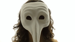 Vintage girl silhouette mask long nose CU CC Footage