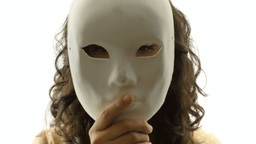 Vintage girl silhouette mask mystery CU CC Footage