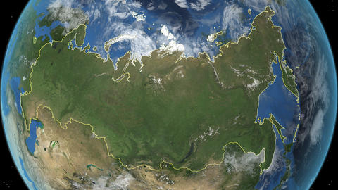 RUSSIA. Zoom in on RUSSIA Animation