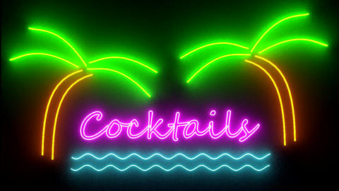 Cocktails neon sign lights logo text glowing multi Animation