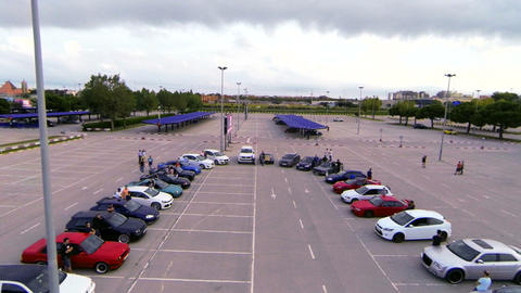 Aerial Drone Tuned Cars Meeting Footage