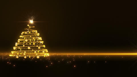 Gold Glowing Christmas Tree 3 stock footage