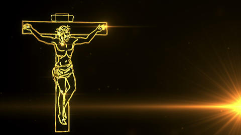 Jesus Christ on Cross being drawn with lights Animation
