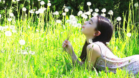 Little girl blowing dandelions 2 Footage